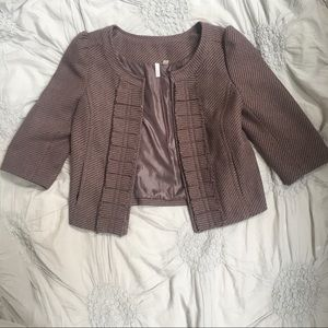 Frenchi Classic Cropped Tweed Blazer